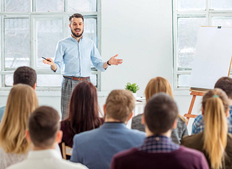 professor teaching in a class